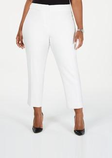 Kasper Plus Size Textured Stretch Slim Pants