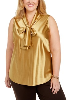Kasper Plus Size Tie-Neck Sleeveless Top