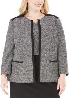Kasper Plus Size Tweed Open-Front Blazer