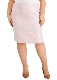 Kasper Plus Size Tweed Pencil Skirt