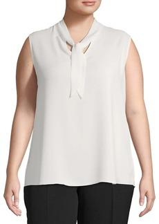 Kasper Plus Sleeveless Tie-Neck Crepe Top