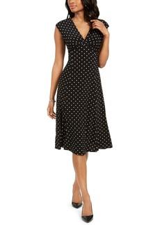 Kasper Polka-Dot A-Line Dress