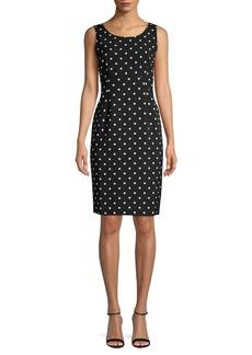 Kasper Polka Dot-Print Sheath Dress