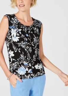 Kasper Petite Floral-Print Pleated-Neck Top