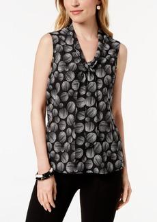 Kasper Printed Tie-Neck Shell, Regular & Petite Sizes