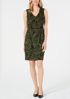 Kasper Printed Tie-Waist Sheath Dress