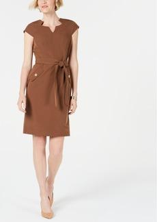 Kasper Seam-Detail Tie-Waist Dress