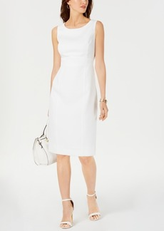 Kasper Sleeveless Diamond-Jacquard Sheath Dress