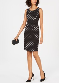 Kasper Sleeveless Polka Dot Sheath Dress
