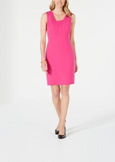 Kasper Square-Collar Stretch-Crepe Dress