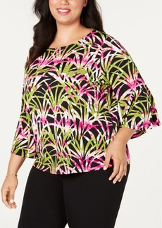 Kasper Plus Size Flounce Printed Top