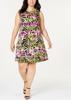 Kasper Plus Size Jewel-Neck Dress