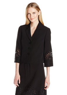 Kasper Women's 3 Button Embroidery Detail Stretch Crepe Jacket