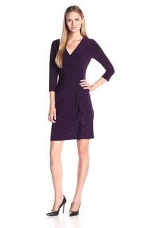 Kasper Women's 3/4 Sleeve Fitted Cascade Ruffle Solid Ity Dress