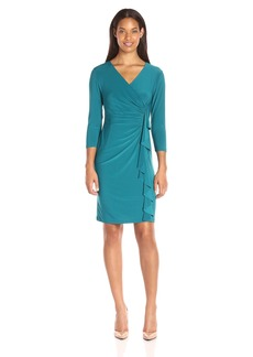 Kasper Women's 3/4 Sleeve Fitted Cascade Ruffle Solid Ity Dress