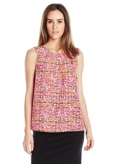 Kasper Women's Abstract Checkered Printed Crepe Keyhole Cami  S