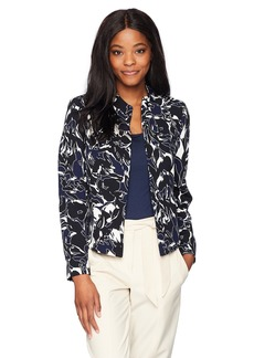 Kasper Women's Abstract Printed Crepe Flyaway Jacket