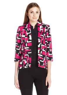 Kasper Women's Abstract Printed Twill Flyaway Jacket