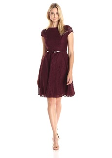 Kasper Women's Belted Fit and Flare Lace Dress