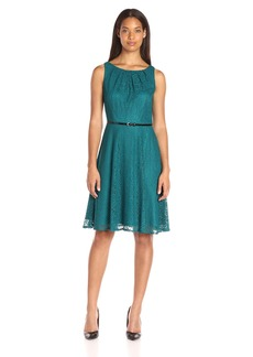 Kasper Women's Belted Pleat Neck Geo Lace Dress