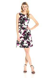 Kasper Women's Brushed Flower Printed Crepe Dress