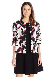 Kasper Women's Brushed Flower Printed Flyaway Jacket