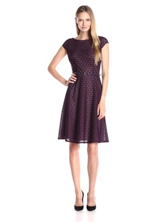 Kasper Women's Cap Sleeve Belted Eyelet Lace Fit and Flare Dress
