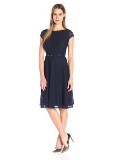 Kasper Women's Cap Sleeve Belted Lace Dress