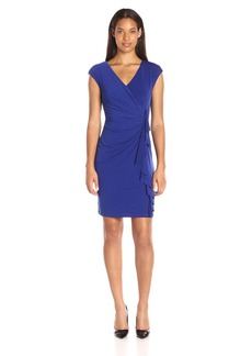 Kasper Women's Cap Sleeve Fitted Cascade Faux Wrap Solid Ity Dress