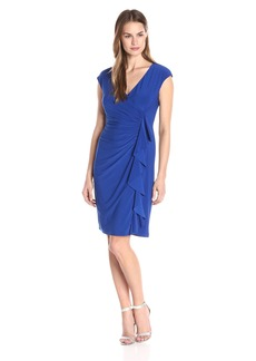 Kasper Women's Cap Sleeve Fitted Ruffle Front
