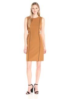 Kasper Women's Contrast Solid Jewel Neck Dress