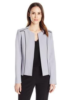 Kasper Women's Crepe Contrast Flyaway Jacket