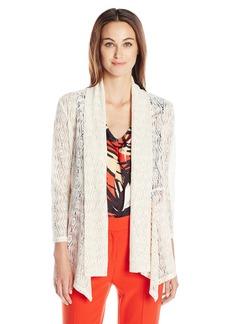 Kasper Women's Diamond Lace Knit 3/4 Sleeve Flyaway Cozy Jacket