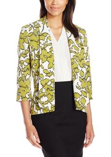 Kasper Women's Etched Greenery Printed Crepe Callie Jacket