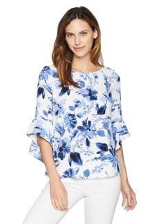 Kasper Women's Floral Printed Blouse with Ruffle Sleeve Detail  XL