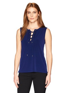 Kasper Women's Ity Tank Which Laces up in Front  L