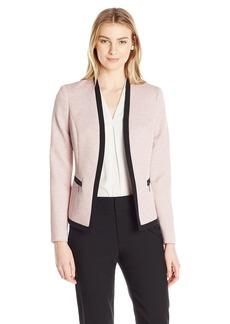 Kasper Women's Jacquard Jacket with Black Contrast Detailing