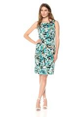 Kasper Women's Jewel Neck Blossom Print Dress with Banded Waist