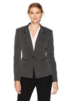 Kasper Women's Knit Herringbone 1 Button Jacket