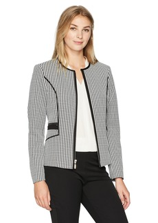Kasper Women's Knit Houndstooth Zipper Front Jacket