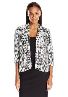 Kasper Women's Knit Jacquard Flyaway Jacket
