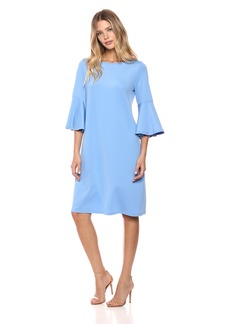 Kasper Women's Knit Long Dress with Ruffled Bell Sleeve  XL