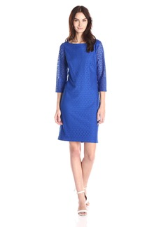 Kasper Women's Lace 3/4 Sleeve Shift Dress