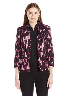 Kasper Women's Leopard Print Shantung Jacket