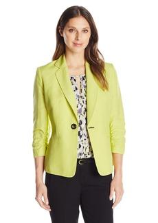 Kasper Women's Linen 1 Button Jacket with Pocket Detail