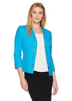 Kasper Women's Linen Flyaway Jacket with Grommets