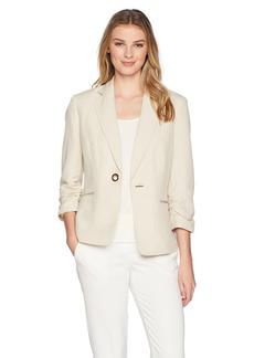 Kasper Women's Linen One Button Jacket Witth Notch Collar