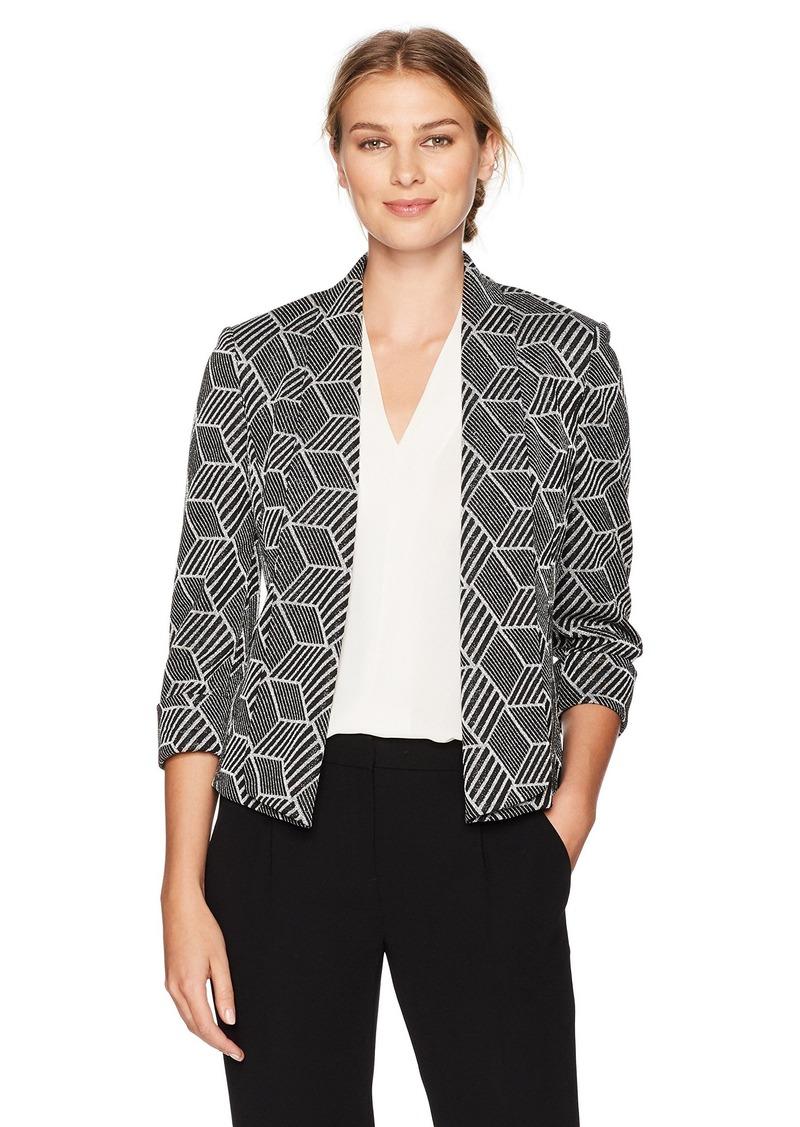 a1c2d941ba0 SALE! Kasper Kasper Women s Metallic Knit Jacquard Flyaway Jacket ...