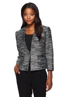 Kasper Women's Metallic Tweed Flyaway Jacket