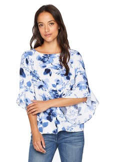 Kasper Women's Petite Floral Printed Blouse with Ruffle Sleeve Detail  PL